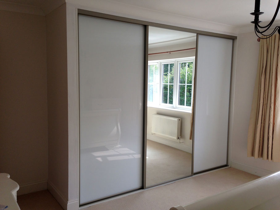 Platinum frame and Pure White glass and Mirror doors