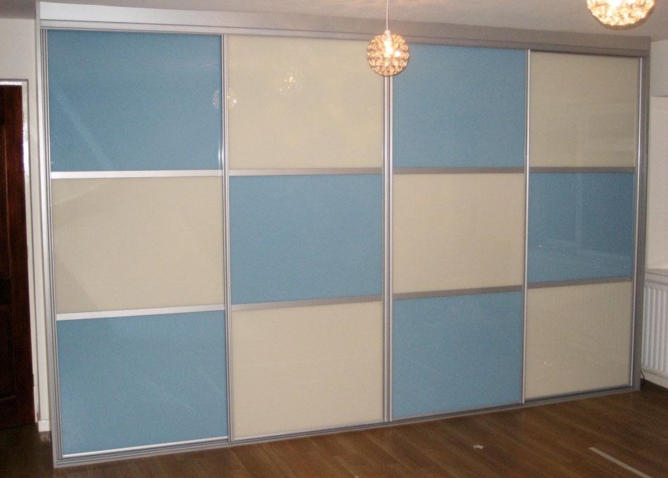 Chequer board wardrobe light blue and peach glass