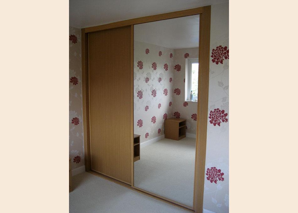 Oak frame mirror and oak panel