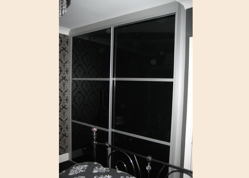 Oriental wardrobe silver frame and black glass