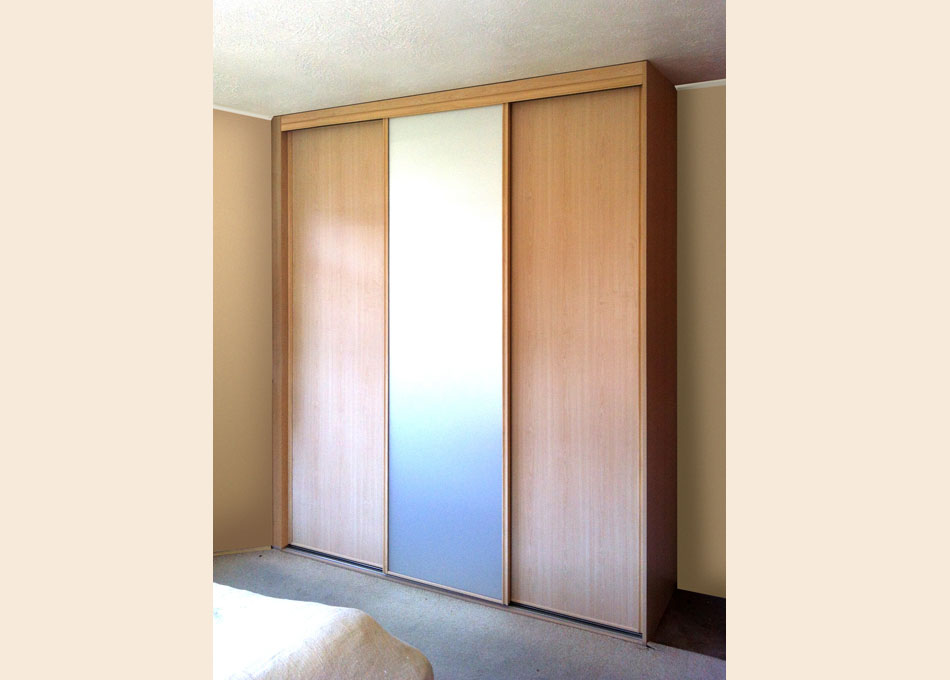 Pearwood frame frosted mirror and pearwood panel