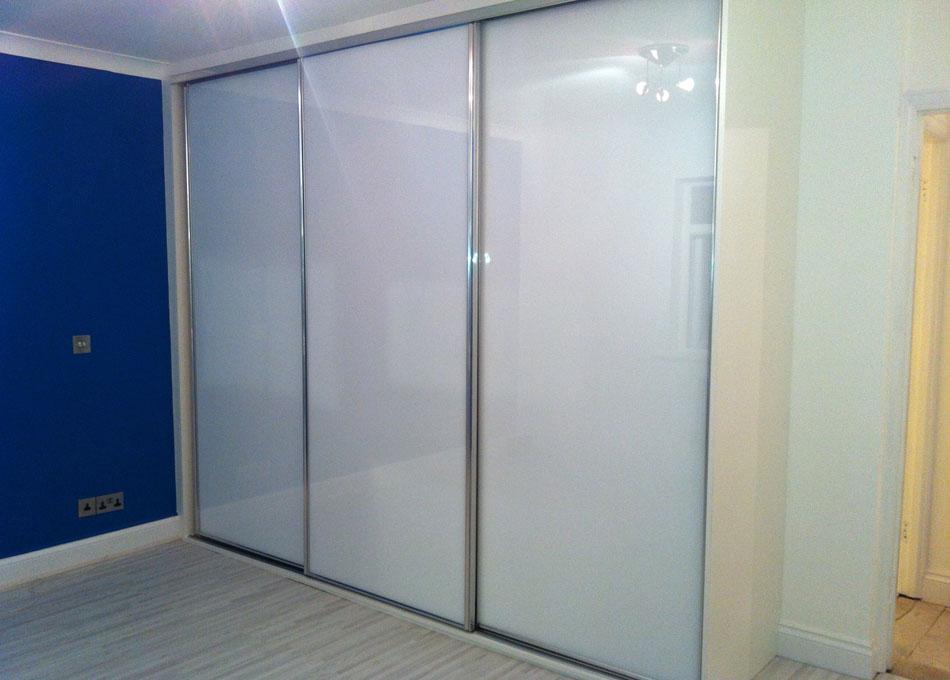Chrome frame pure white glass