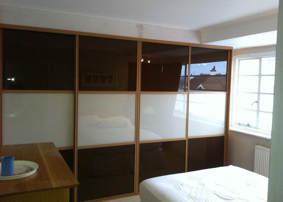 Oriental wardrobe oak frame brown and peach glass