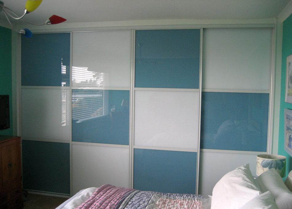 Chequer board wardrobe light blue and white