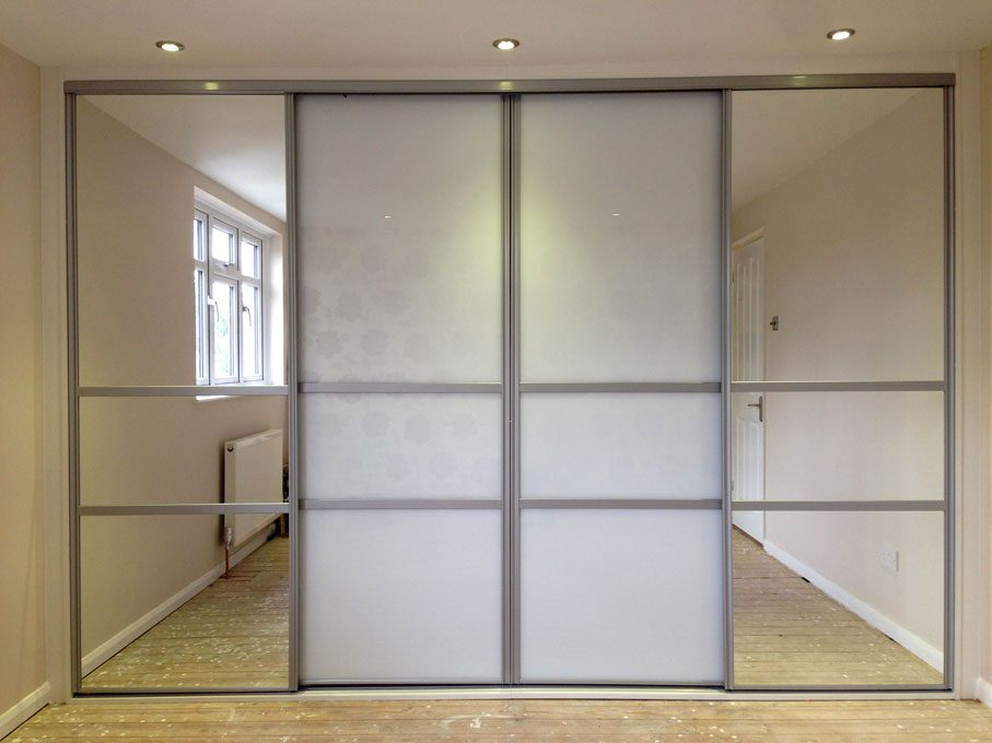 Silver frame and Pure White glass and Mirror doors