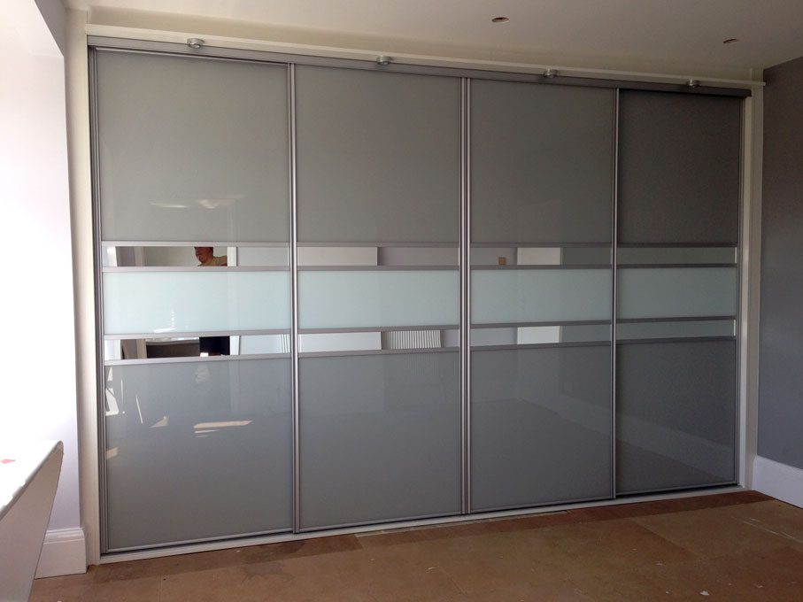 Silver frame and multi-panel doors