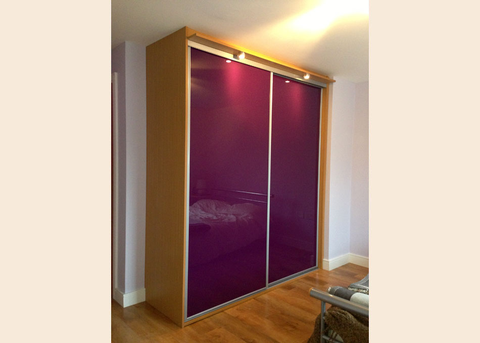 Sliver frame and Aubergine glass doors