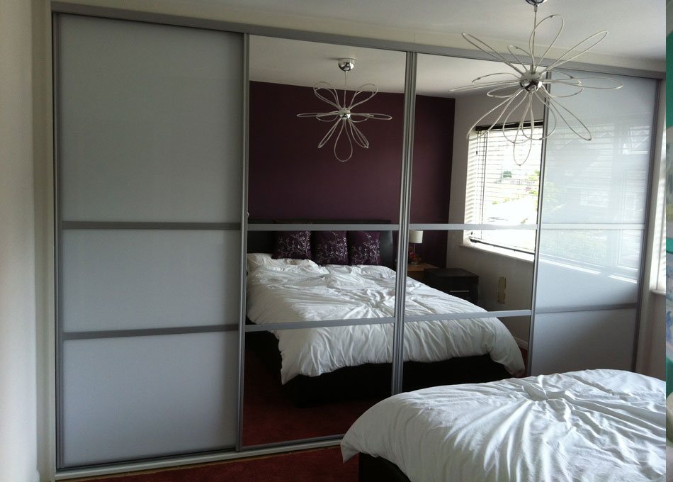 Oriental wardrobe silver frame mirror and pure white glass