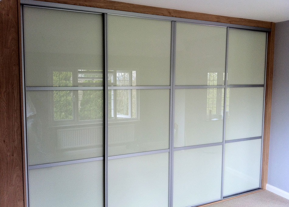 Oriental wardrobe silver frame and almond glass