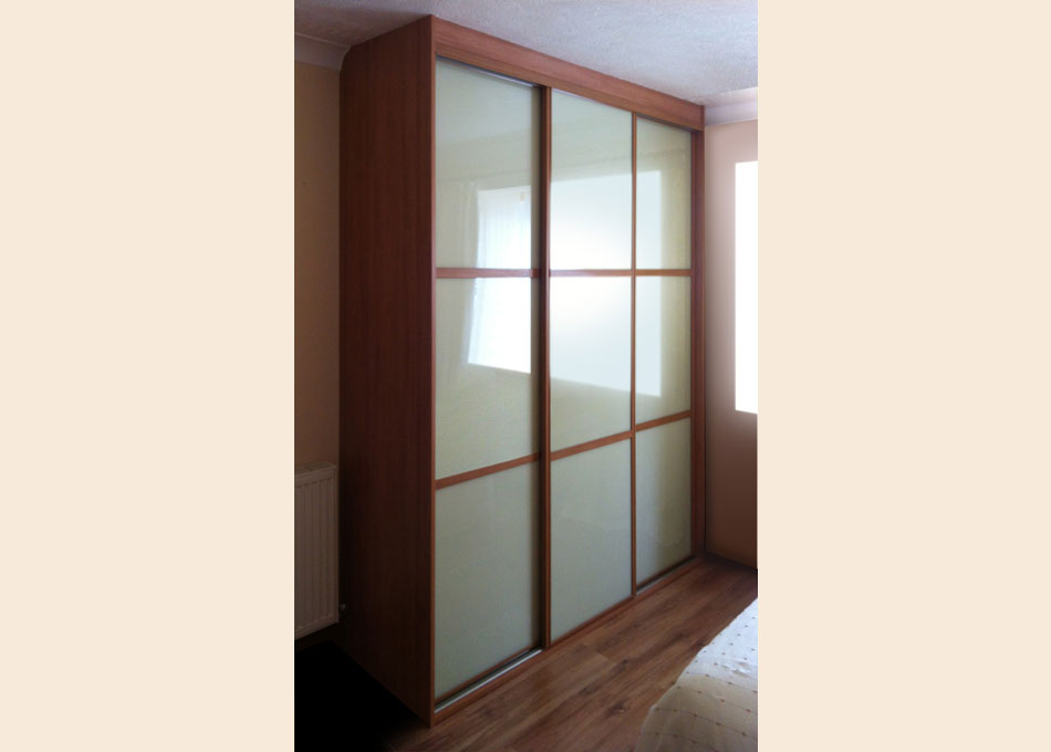 Oriental wardrobe and cherry frame and almond glass