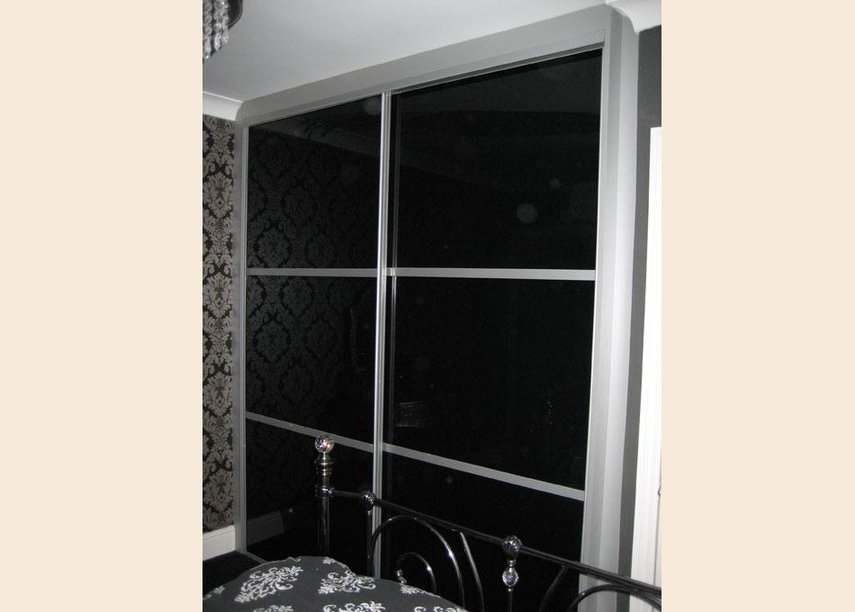 Oriental wardrobe silver frame and black glass