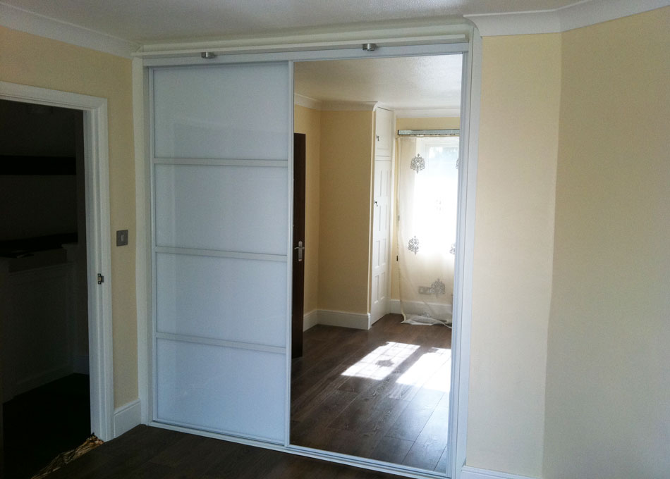 Oriental wardrobe silver frame and pure white glass