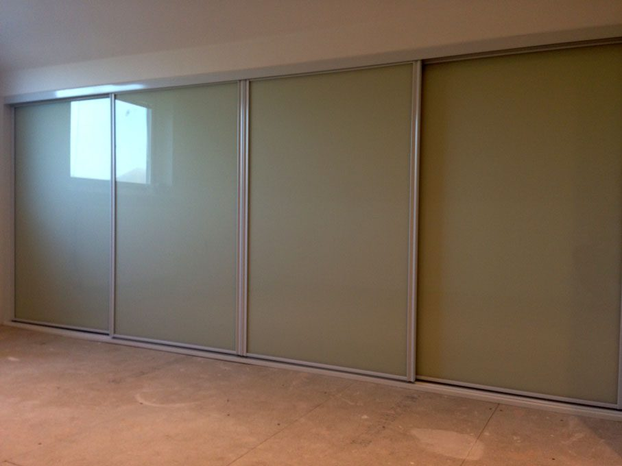 Vanilla frame and Almond glass doors