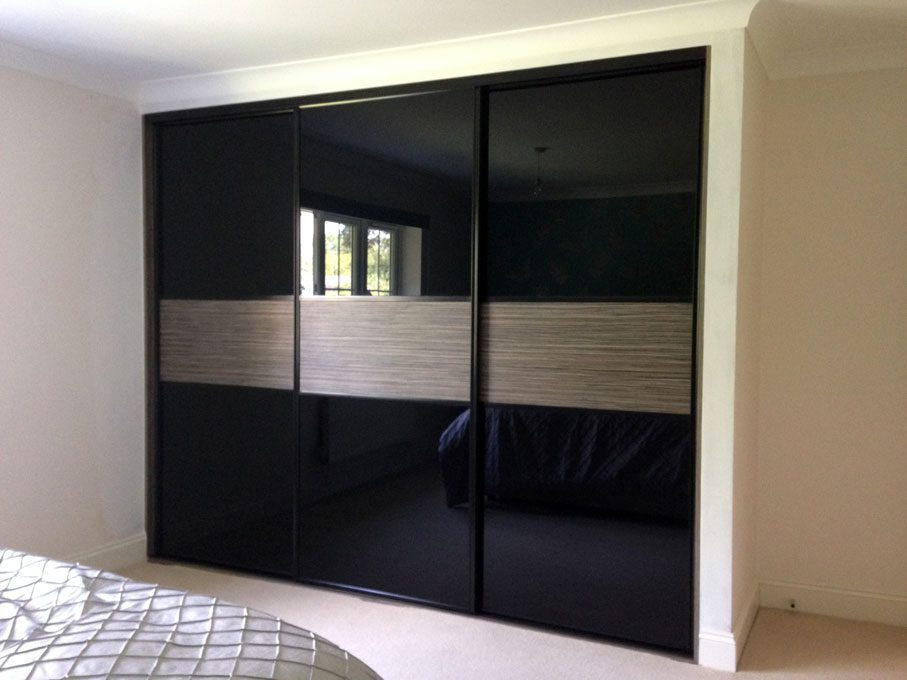 Black frame and multi-panel doors