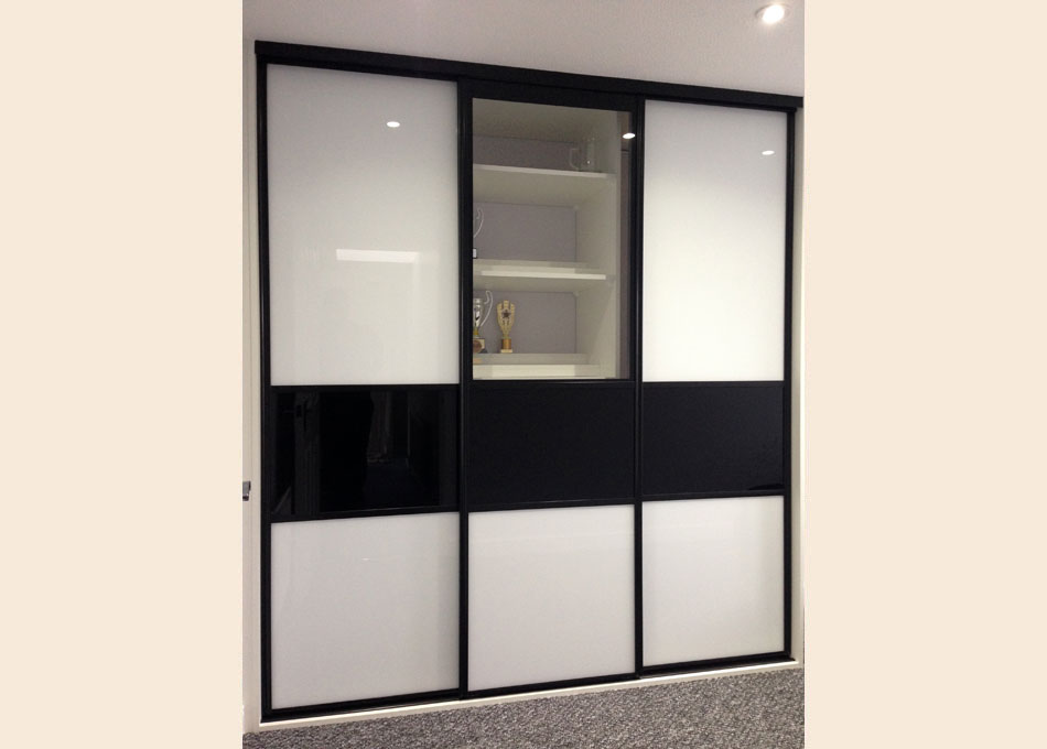 Black frame and multi-panel doors