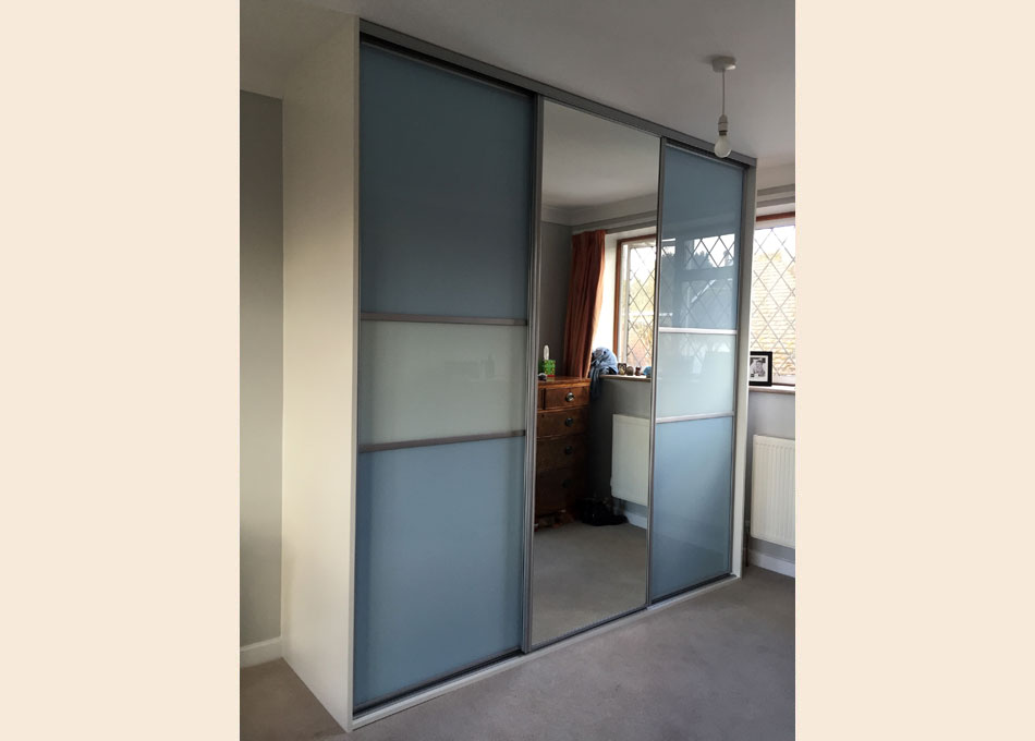 Silver frame and multi-panel and Mirror doors